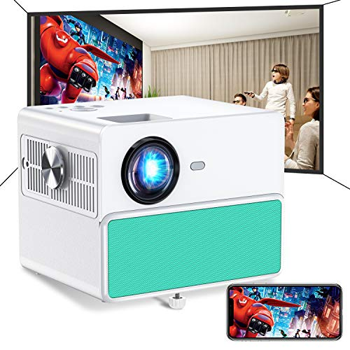 TOWOND 7000Lux Outdoor Projector for Movies, Mini Portable Phone Projector 1080P Supported, WiFi Bluetooth Home Theater Projector, Compatible with TV Stick, HDMI, VGA, USB, Laptop, iPhone Android-Blue