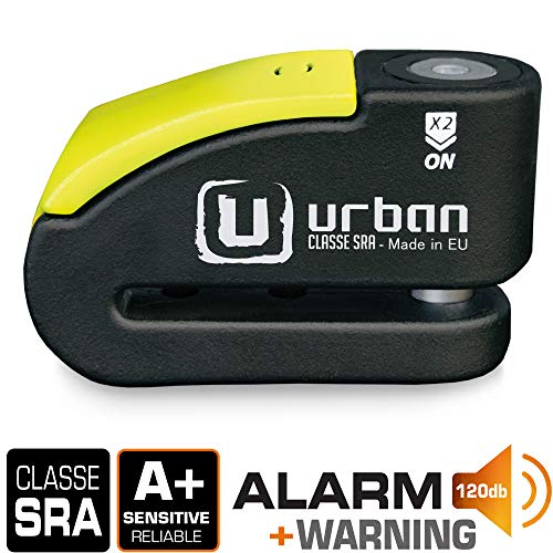 Urban Security 999 candado antirrobo Disco con Alarma 120dba + Warning, Alta Seguridad Homologado CLASSE Sra, Eje 14 mm, Made in EU, Negro/Amarillo