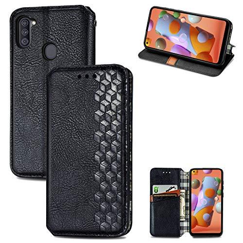 Funda para Samsung Galaxy A11/M11, funda de silicona de alta calidad, piel sintética, con tapa, cierre magnético, función atril, diseño de cocodrilo, piel con Galaxy A11/M11 Negro 42
