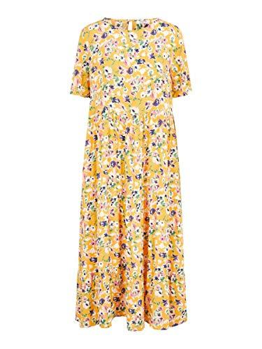 PIECES Damen PCAVIANNA SS MIDI Dress Kleid, Apricot, S