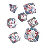 Q WORKSHOP Classic Translucent & Blue-red RPG Ornamented Dice Set 7 polyhedral Pieces -