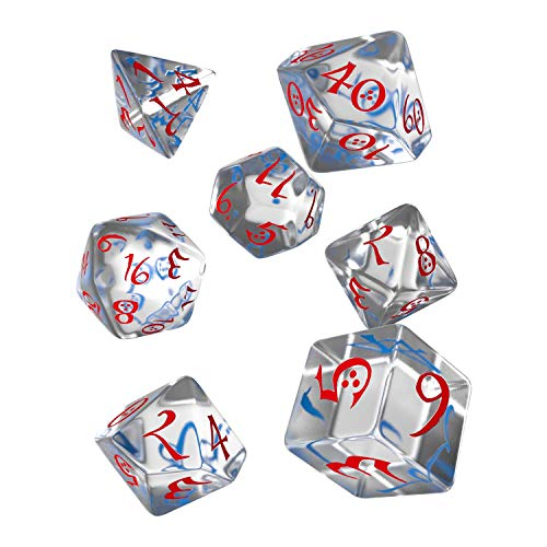 Q WORKSHOP Classic Translucent & Blue-Red RPG Ornamented Dice Set 7 polyhedral Pieces