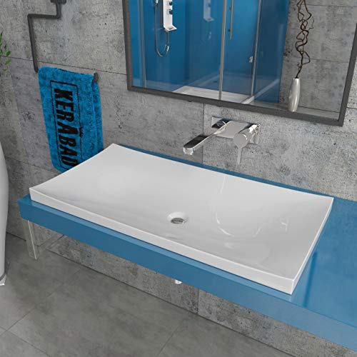 KERABAD Design Aufsatzwaschbecken Waschtisch Waschhschale aus Mineralguss Einbauwaschbecken 80cm KB-JZ800