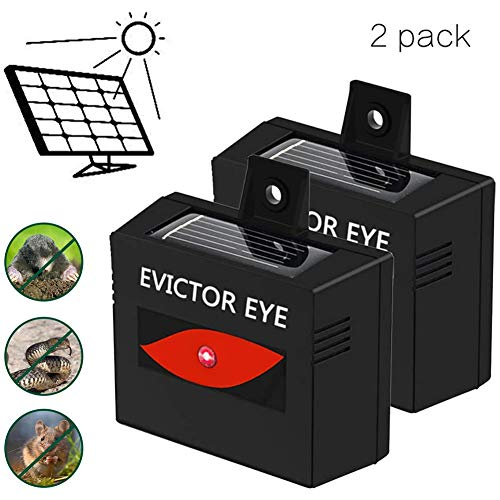 2 Pack Animal Repellent, Ultrasonic Cat Fox Repeller, Solar Powered Pet Dog Solar Deterrent, Rabbit Rat Scare for Garden Yard Field Farm