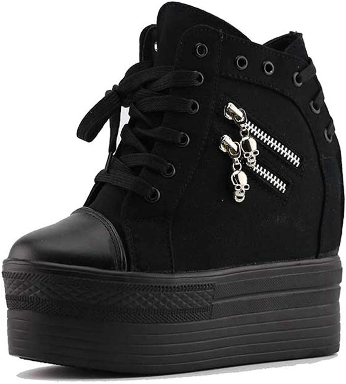 ASO-SLING Women's Platform Wedge Sneakers High Heels Casual Water-Resistent Increased Height Lace Up Walking shoes