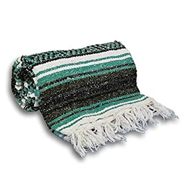 YogaAccessories Traditional Mexican Yoga Blanket ( Teal Green)