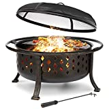 KINGSO 36' Fire Pit Outdoor Large Steel Wood Burning Fire Pits Bowl BBQ Grill Firepit for Outside with Spark Screen Cooking Grid Poker for Backyard Garden Camping Bonfire Patio, Oil Rubbed Bronze