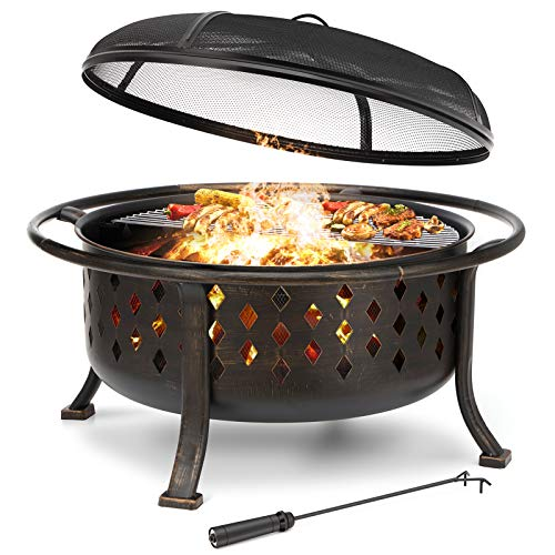 "KINGSO 36"" Fire Pit Outdoor Large Steel Wood Burning Fire Pits Bowl BBQ Grill Firepit for Outside with Spark Screen Cooking Grid Poker for Backyard Garden Camping Bonfire Patio, Oil Rubbed Bronze"