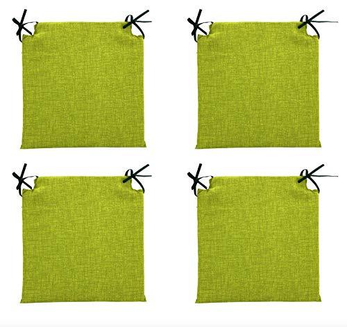 TIENDA EURASIA® Pack 4 Cojines para Sillas - Estampados Lisos con 2 Cintas de Sujeción - Ideal para Interiores y Exteriores - 40 x 40 x 3 cm (Verde Pistacho)
