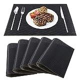 Mantel Individual de PVC Antideslizantes Resistente al Calor Salvamanteles Lavables Alfombrillas de Comedor para la Mesa de Comedor de Cocina Juego de 6 Negro+Dorado