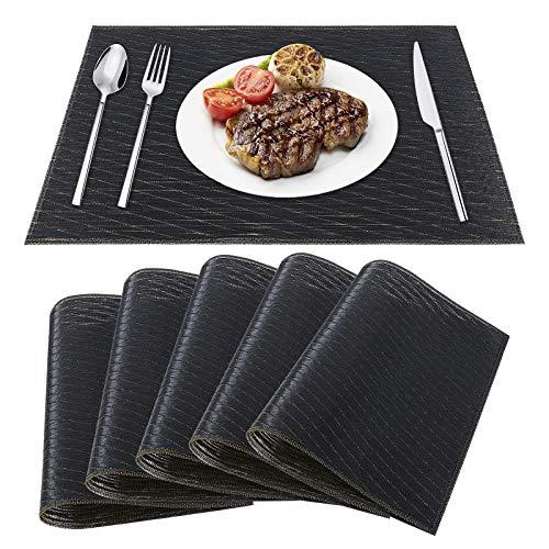 Mantel Individual de PVC Antideslizantes Resistente al Calor Salvamanteles Lavables Alfombrillas de Comedor para la Mesa de Comedor de Cocina Juego de 6 Negro