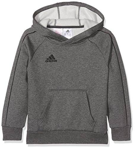 adidas Kinder Core 18 Hoodie, Grau (Dark Grey Heather/Black), 164