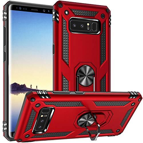 Fetrim Hülle Kompatibel für Galaxy Note 8, doppellagig stoßfest Schutzhülle mit Drehring Ständer für Samsung Galaxy Note 8 rot