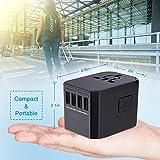 BrizLabs Universal Reiseadapter Weltweit Reisestecker mit 4 USB Ports + Typ C International Ladegerät Sicherheit AC Steckdose mit Ersatz Sicherung für Reisen in EU UK US AU Asien Über 200 Ländern - 3