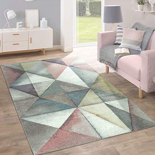 Paco Home Kurzflor Teppich Trendige Pastellfarben Modernes Triangel Design Mehrfarbig Bunt, Grösse:160x220 cm