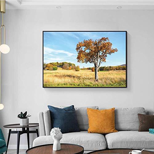 hetingyue HD Druck Grünland Bäume Landschaft Kunst Leinwand Malerei Druck Wandplakat Wohnzimmer Dekoration Malerei Wandmalerei rahmenlose Malerei 50x75cm