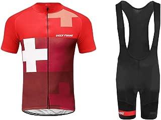 Uglyfrog 2019 Newest Designs Men Short Sleeve Cycling Jersey Pro Team Men's Cycling Jersey+Bike Bib Shorts with 3D Gel Padded