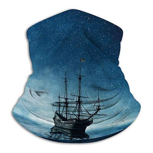 Barco Pirata,Barco En El Mar Azul Oscuro Con Reflejo De Agua Del Cielo Nocturno Estrellado,Azul Oscuro Azul Negro Multiusos De Bandana,Paño De Manguera, ,Pañuelo Para La Cabeza,Polaina Para Cuello