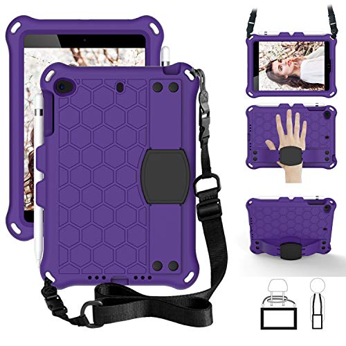 for iPad Mini 5/4/3 Tablet Case for Kids - Durable Lightweight EVA + PC Shockproof Handle Stand Cover, with Shoulder Strap