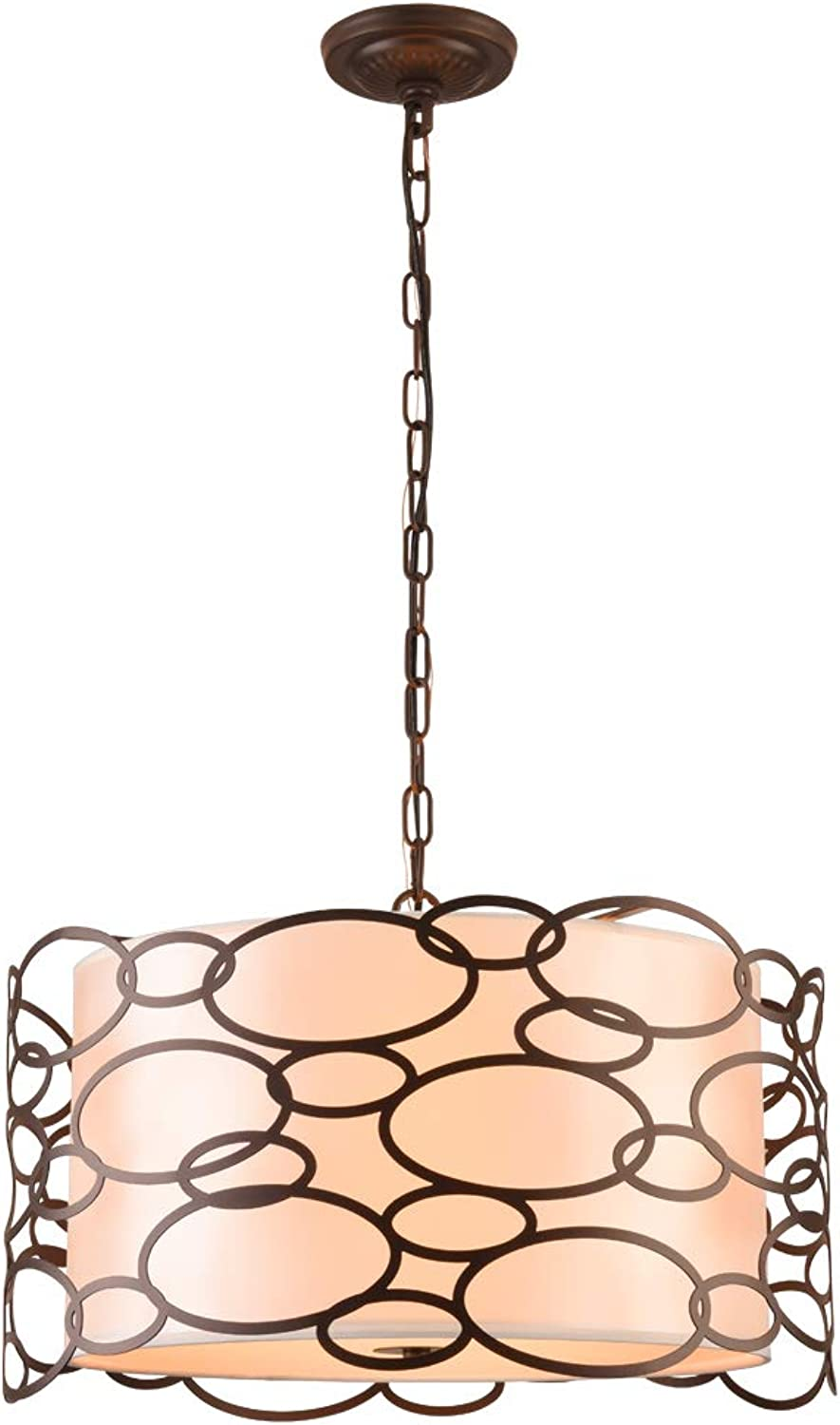 Mirrea Modern Pendant Light 3 Lights in Fabric Drum with Frosted Acrylic Cover and Bubble Shape Oil Rubbed Bronze Metal Drum Shade