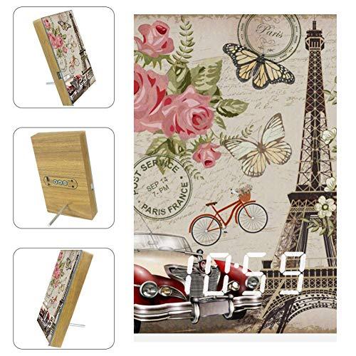 EZIOLY Paris Digitaler Wecker mit Postkarte und LED-Anzeige, Zeit, Temperatur, Datum, USB-betrieben, Sound-Steuerung, Energieeinsparung für Schlafzimmer und Büro