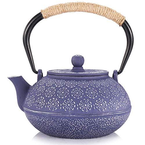LHQ Crisol del arrabio té, teteras de Hierro Fundido Japonesa Conjunto con Anti Rust esmaltado Interior y Filtro de Acero Inoxidable, Tetsubin Tetera Azul 900ml