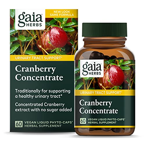 Gaia Herbs Cranberry Concentrate, Vegan Liquid Capsules, 60 Count - Supports Urinary Tract Health, Cranberry Pills from Organic Cranberry Juice