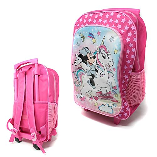 Children's Character Luggage Deluxe Wheeled Trolley Backpack Suitcase Cabin Bag School (Minnie Mouse Unicorn)