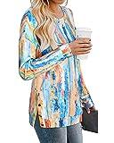 LAISHEN Women's Casual Tie Dye Print Sweatshirt Crewneck Long Sleeve Loose Pullover Tops Tunic(Tye Die01,L)