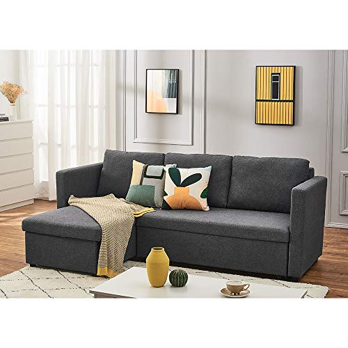 Linen Fabric Sectional Sleeper Sofa Couch with Pull Out Bed, L Shaped Modern Sectional Sofa Bed with Chaise Lounge and Storage Function for Living Room (Dark Gray)