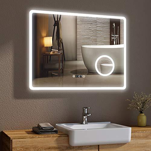Bad Spiegel mit LED Beleuchtung 80 x 60 cm Badspiegel Badezimmerspiegel mit Sensor-Schalter, Schminkspiegel und Digital Uhr IP44 [Energieklasse A+] - kaltweiß