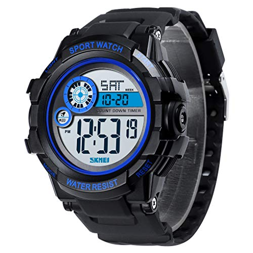 Skmei Sport Watch Countdown Timer Digital Popular Wristwatch Soft Comfortable Waterproof Plastic Watch for Men