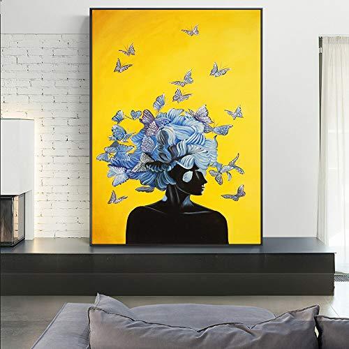 Vlinder Meisje Moderne Muur Art Canvas Foto Zwarte Vrouw Canvas Art Posters en Prints Huisdecoratie Frameloze Schilderij