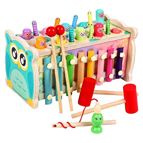 Multifunción Actividad Cubo De Madera, Preescolares Educativos para La Primera Caja De Aprendizaje Xilófono Juguetes para Niños Niño Niños Niñas