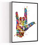 ROOM DECOR,I Love You,American Sign Language Watercolor Print Hand Signing Deaf Diagram Love Poster Sign Language Manual Alphabet Medical Art,8''x12'' Framed Modern Canvas Wall Art,