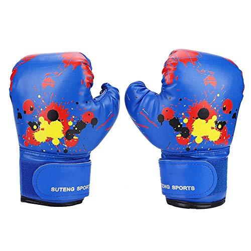 Bnineteenteam Kinder Boxhandschuhe, Kinder Cartoon MMA Sparring Handschuhe PU Leder Boxtraining Handschuhe für Kinder im Alter von 2-11 Jahren (Blau)