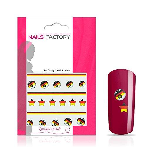 N&BF Nail Art nagelstickers voetbal | Socccer nagelsticker Duitsland/Duitsland | Duitse vlaggen stickers voor kunstnagels en natuurlijke nagels | 3D nageltattoos voor WK & EM | Landen transfersticker