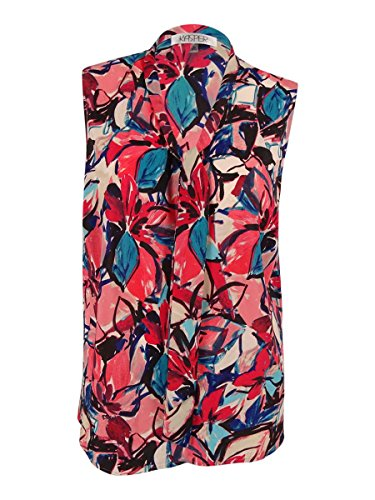 Kasper Women's Printed Tie-Front Sleeveless Blouse (Small, Flamingo Multi)