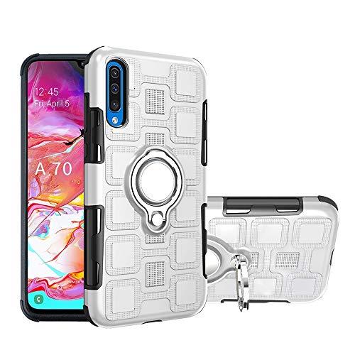 Armor - Carcasa de protección 2 en 1 con soporte giratorio para dedo para Samsung Galaxy A70 (color: plata)