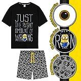 Minions Pijama Hombre Verano, Conjunto Verano Hombre, Ropa Hombre de Algodón S-3XL (Negro, XL)