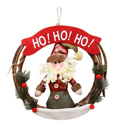 Luccase Weihnachts Kranz 30cm Weihnachtsdekoration Holzornamente Kranz Geschenk Fenstertisch Einfache Dekoration Ornamente Kranz Geschenk für Familie und Freunde (A)
