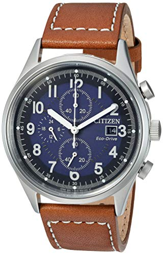Citizen Men's Eco-Drive Stainless Steel Quartz Leather Calfskin Strap, Brown Casual Watch (Model: CA0621-05L)