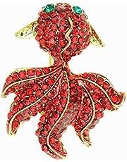 Hacoly Brooch Pin Spilla da Ragazza Strass di Cristallo Pesce Rosso Spilla per Donna Compleanno San Valentino Natale Matrimonio Regalo Gioielli- Rosso2.9 * 3.7cm
