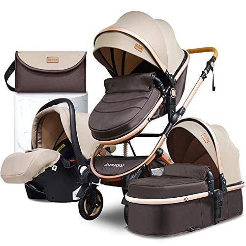 Babyfond Cochecito de bebe 3 en 1, ligero Silla de paseo para bebé, sistema de viaje, Cochecito plegado, 2 in1 con Silla de coche y capazo, desde el nacimiento hasta 3 años, 25kg (Caqui)