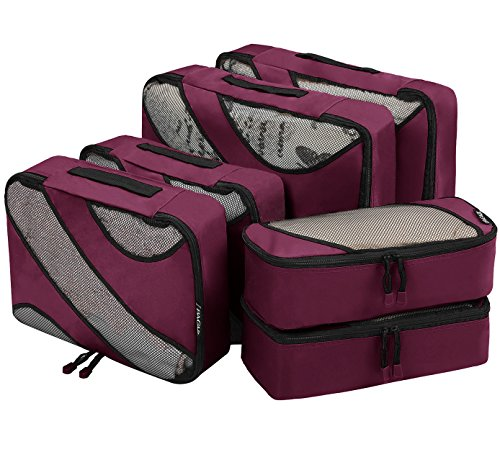 Bagail 6 Set Packing Cubes,3 Various Sizes Travel Luggage Packing Organizers(Burgundy)