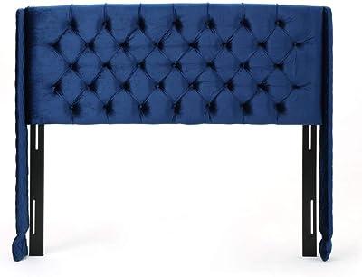 Christopher Knight Home Lidia Wingback Tufted Velvet Headboard, Queen / Full, Navy Blue / Black