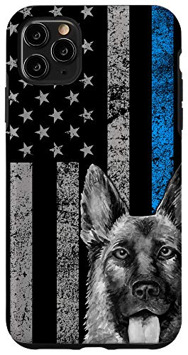 iPhone 11 Pro Max Thin Blue Line Flag K-9 German Shepherd Police Dog Gift Case