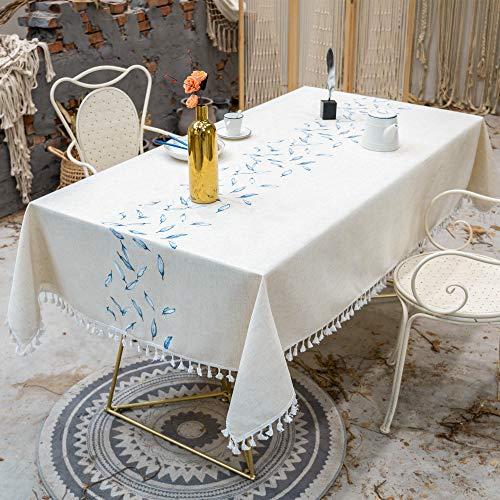 VIVILINEN Mantel Rectangular de Lino de algodón Mantel Rectangular Lavable Borla Cubierta de Mesa para Cocina Comedor Fiesta (Azul, 140 x 140cm)