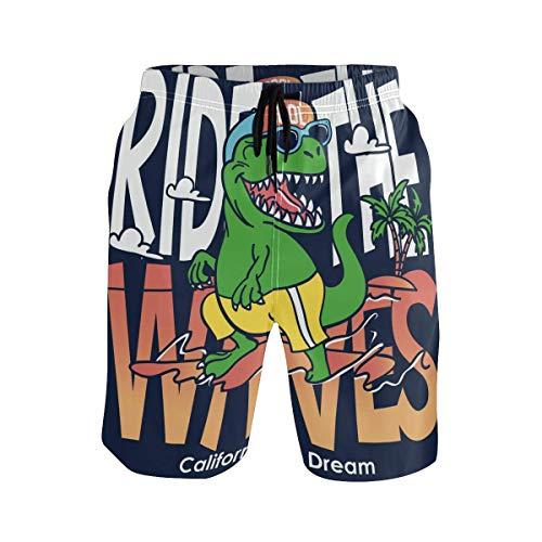 Bañador de Hombre con Dibujos Animados Divertidos, bañadores de Verano de Dinosaurio, bañadores de Secado rápido, Pantalones Cortos para Pesca en la Playa, Piscina