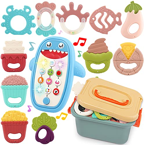 Baby Teether Rattle Play Toy - 11pcs Grab Shakers Set and Electronic Music & Light Shark Phone Toy (Blue), w/ Storage Box - Educational Stroller Gift for Infant Newborn Girl Boy 12-18 Months
